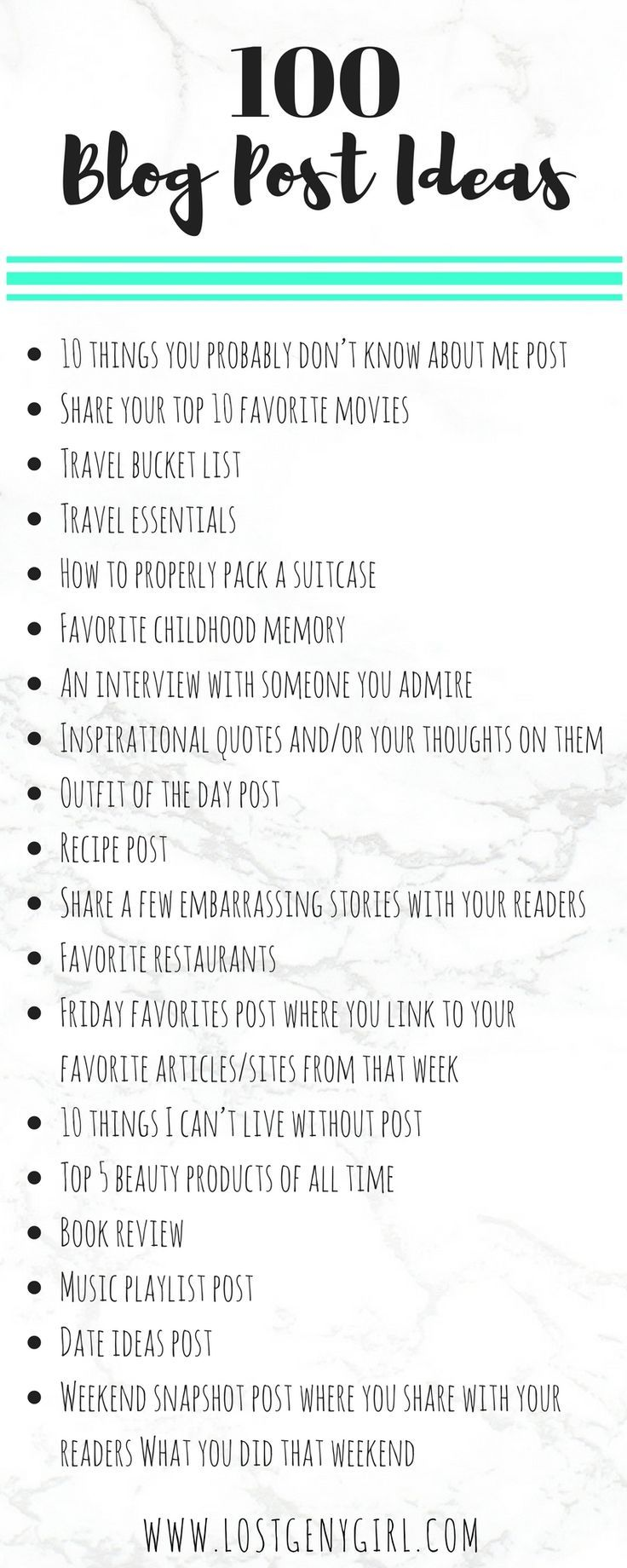 100 Lifestyle Blog Post Ideas | Blog post ideas to help you fight writer's block. #noexcuses #bloggerlife