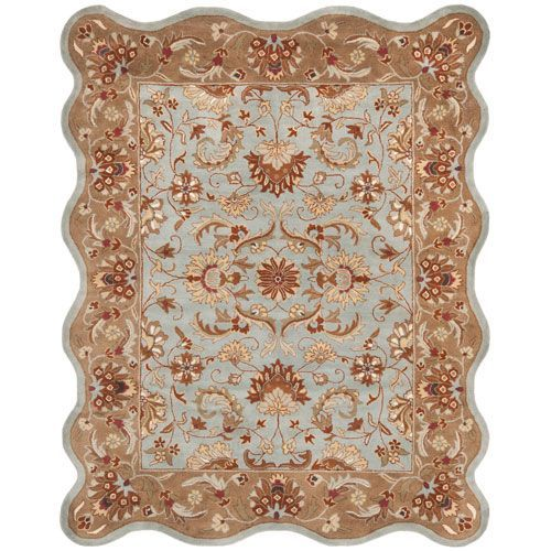 Heritage Blue and Beige Scalloped: 7 Ft. 6 In. x 9 Ft. 6 In. Area Rug - (In Rectangular)