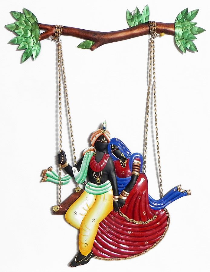 Wall Decor Radha Krishna : Radha krishna on a swing wall hanging wrought iron