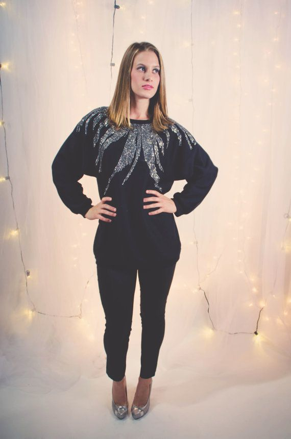 Light Up Night Vintage Black Sweatshirt with by crazyhotclothes, $34.50