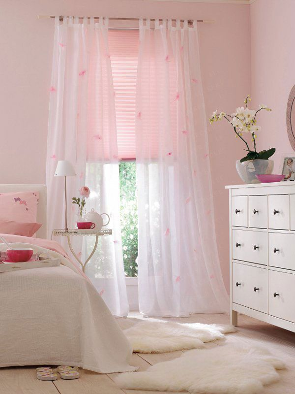 Light Pink Bedroom. White Furniture With Black Hardware. Flowy White  Curtains. Fluffy Stuff
