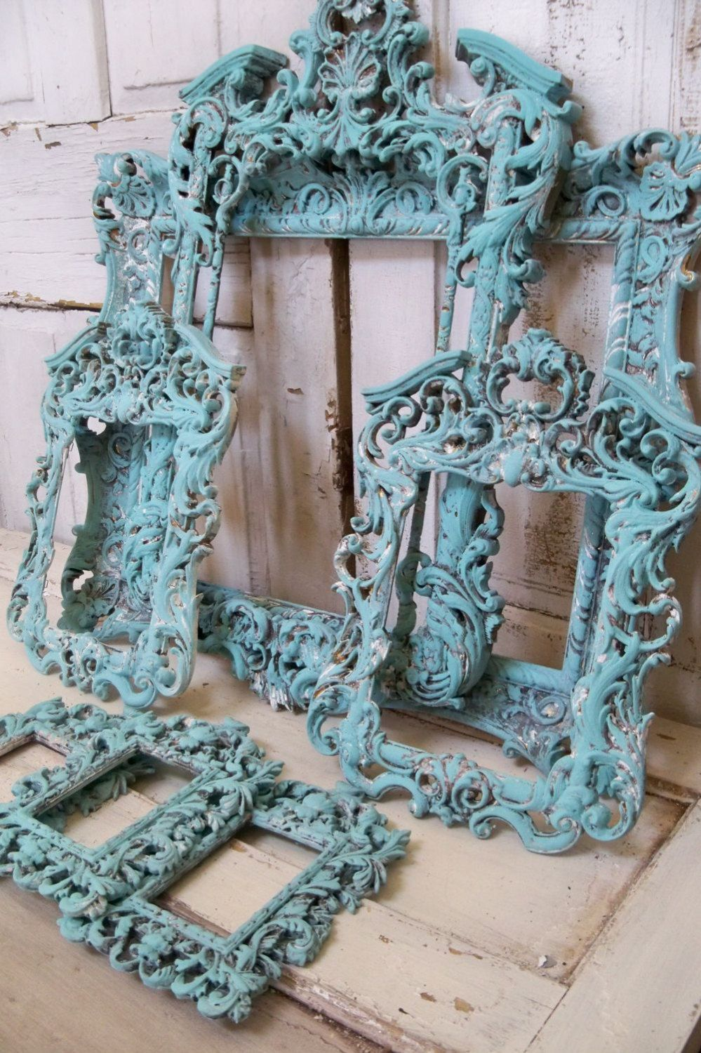 Large ornate frame grouping baroque style French chic blue aqua ...