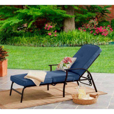 Mainstays Belden Park Outdoor Chaise Lounge With Cushions For Patio And Deck Navy Blue Walmart Com Outdoor Chaise Lounge Outdoor Chaise Comfortable Chaise