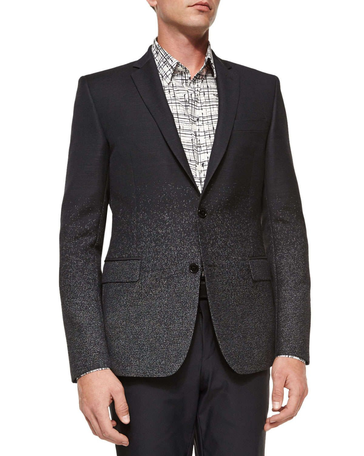 Versace Collection Dotted-Ombre Wool Evening Jacket, Black ...