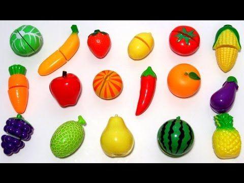 Играем и учим овощи и фрукты на липучках, учим цвета на ...