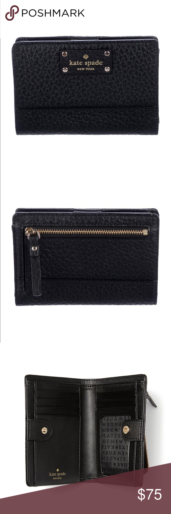 24519ec28892 NEW Kate Spade Black Bi Fold Wallet Comes with authencity card Black ...