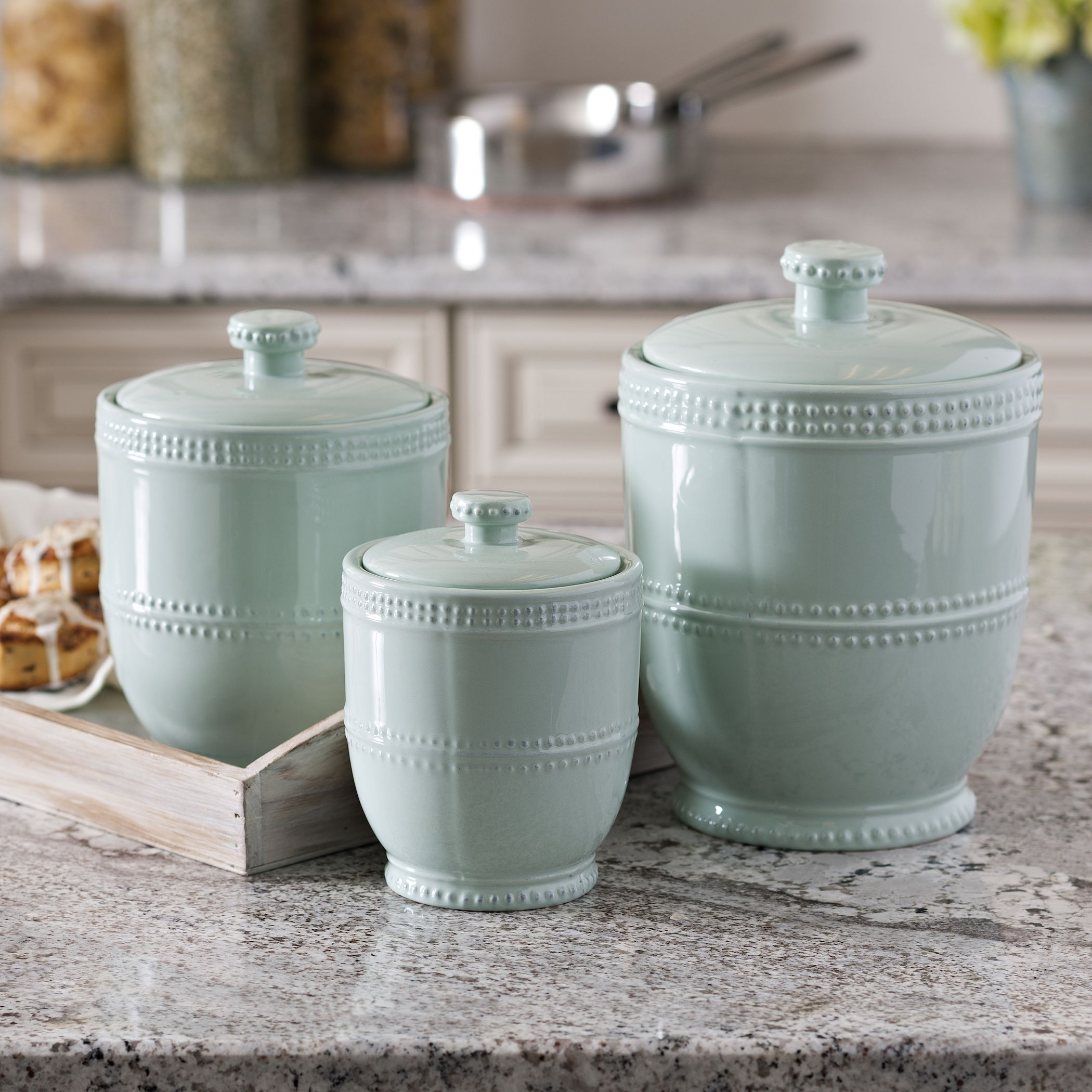Blue Bianca Bead Canisters, Set of 3 | Pinterest | Kitchens ...