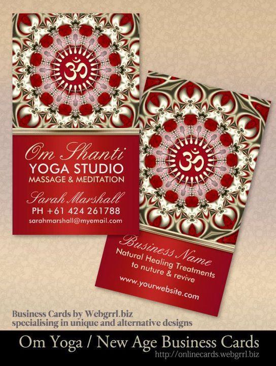 Om Shanti Studio Yoga New Age Business Cards Yoga Studio Business Spiritual Business Card Yoga Studio
