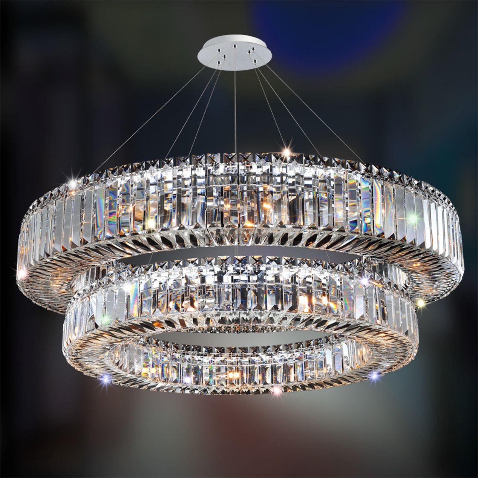 Sparkling Crystal Block Two Tier Ring Chandelier