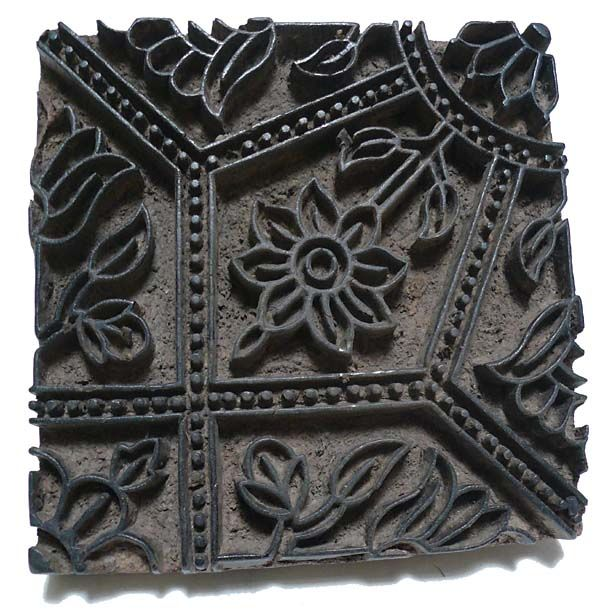 Wood block stamp India Old carved wooden stamp used for printing textiles in India and Pakistan.