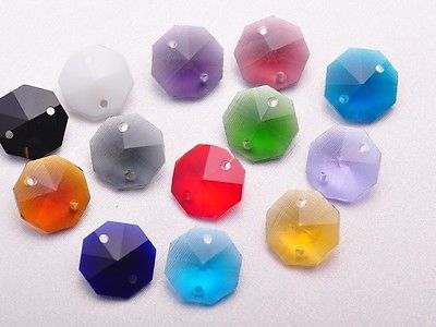 50pcs/$5.89 Octagon Crystal 2Hole Lamp CHANDELIER WEDDING DECOR Prisms Loose Beads14mm
