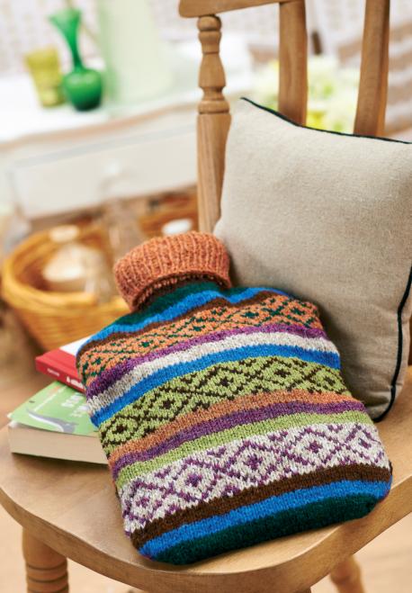 Fair Isle Hot Water Bottle Free Knitting Patterns Homewares