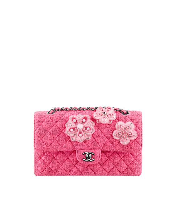 5f9b39c820f752 Chanel Pink Flower Embroidered Tweed Classic Flap Bag | Bags