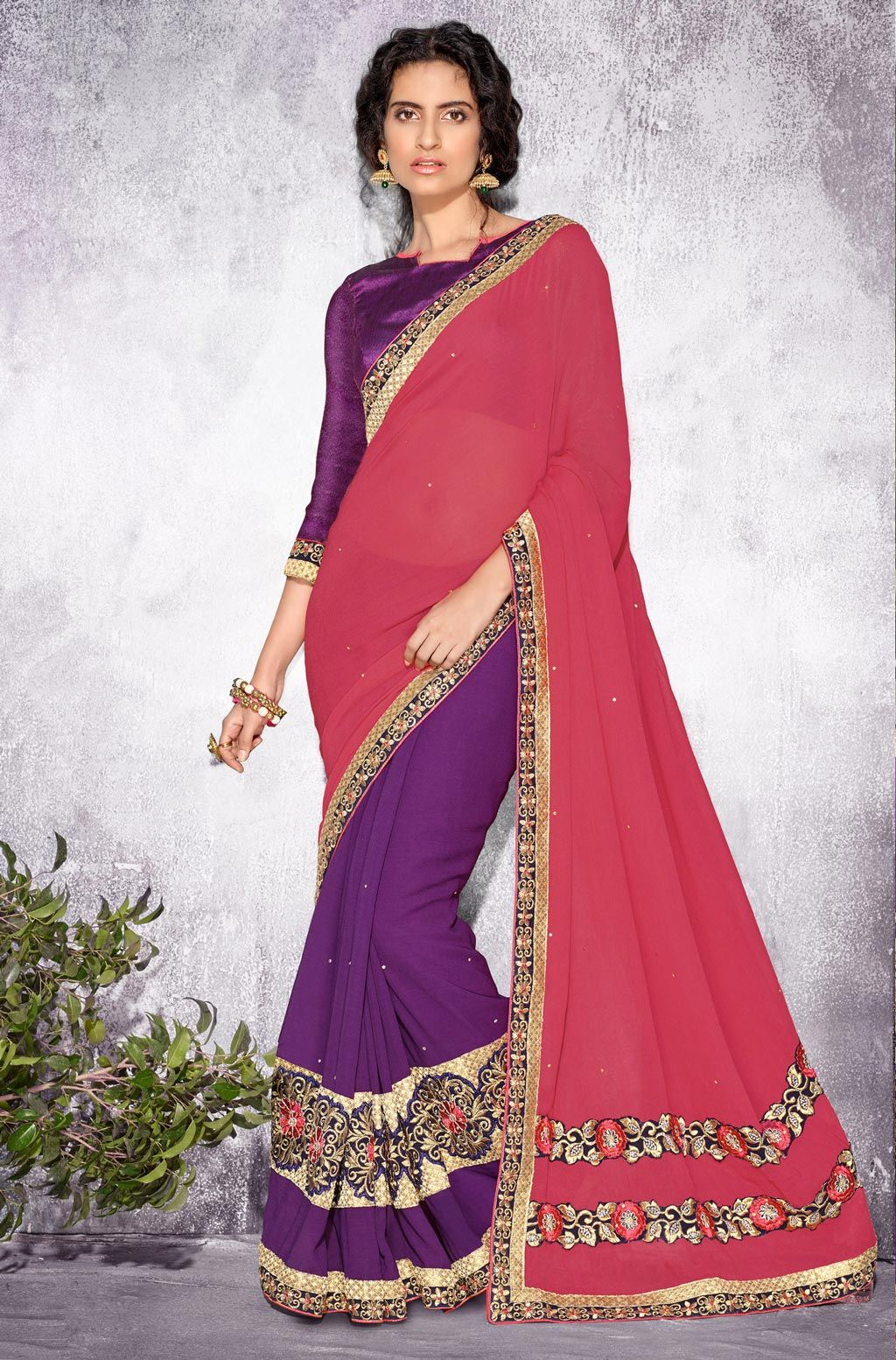 Pink Georgette Half and Half Saree With Blouse 66138 | Saree. I LOVE ...