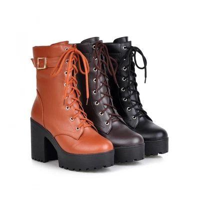 d9b1f73e810 Buy Shoes Galore Platform Block Heel Lace Up Short Boots