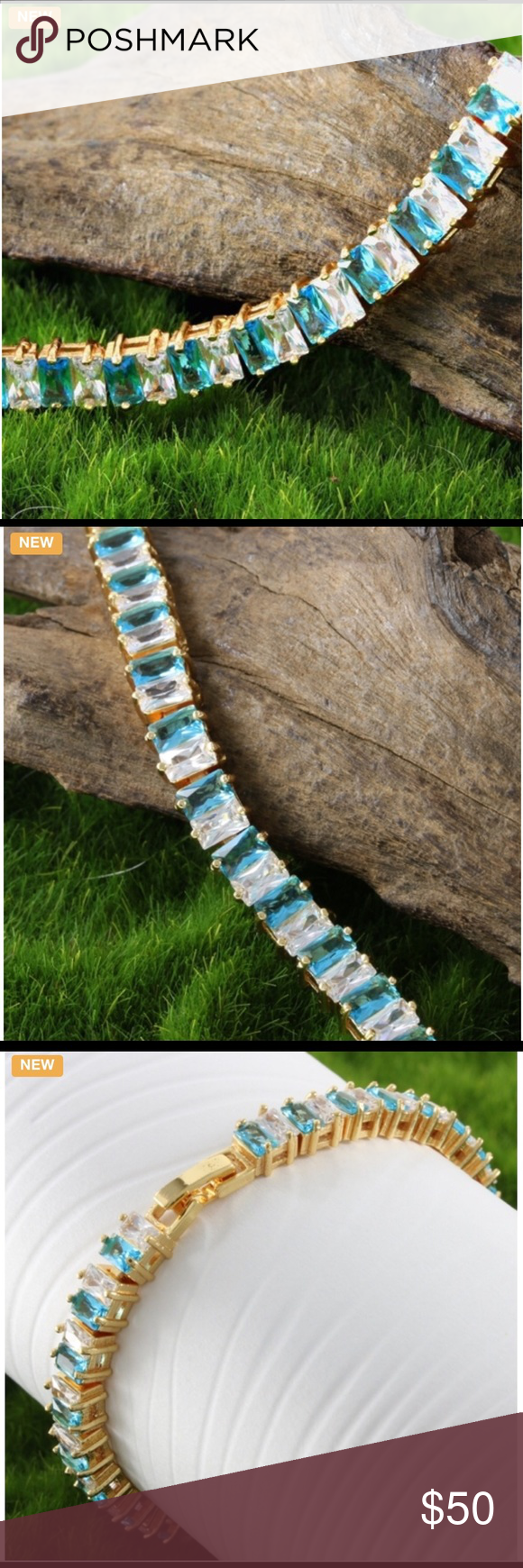 Blue and White Topaz Bracelet This beautiful bracelet has 8.75ctw of genuine blue and white topaz set in 14k yellow gold filled Jewelry Bracelets