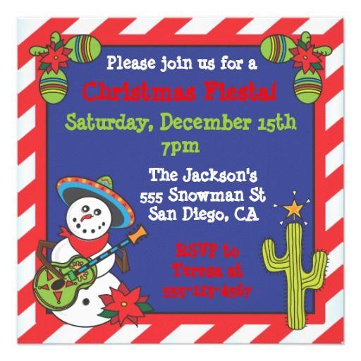 Southwestern Mexican Snowman Feliz Navidad Invitation Festive