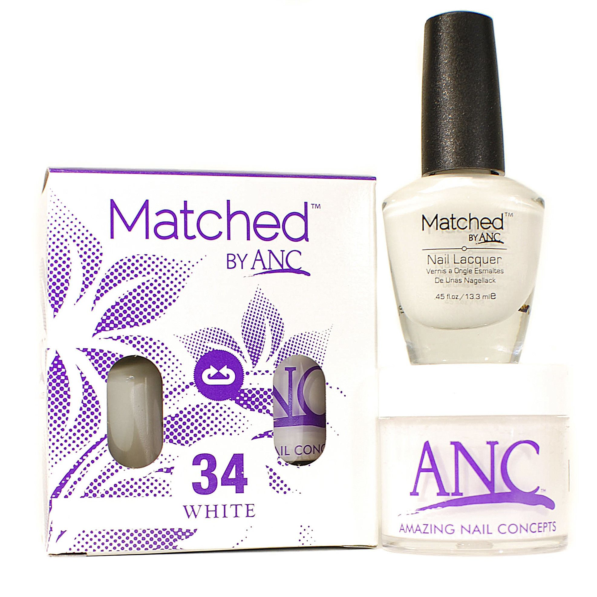 ANC m34 Amazing Nail Concepts Matched kit # 34 white. ANC Powder - Beautiful, natural look, healthy for your clients, safe for your environment. -Odorless -Gentle for your nail bed -Light Weight -Flexible -Natural Environmentally Friendly -Durable Glossy Finish -Healthy for your natural nails by adding Calcium and Vitamin E.