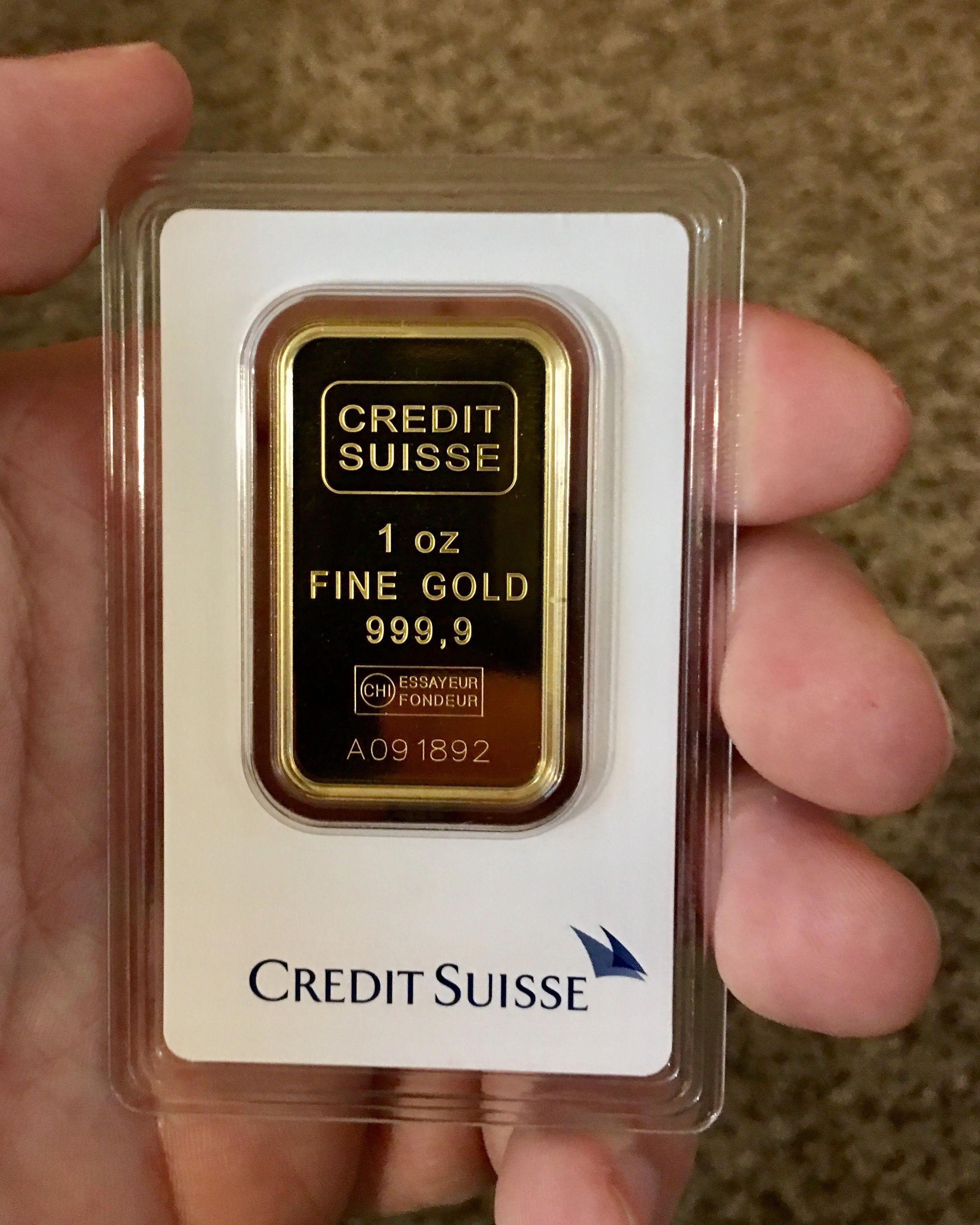 1 Oz Gold Credit Suisse Bar Goldinvesting Goldbullion Gold Bullion Coins Gold Bullion Bars Gold Money