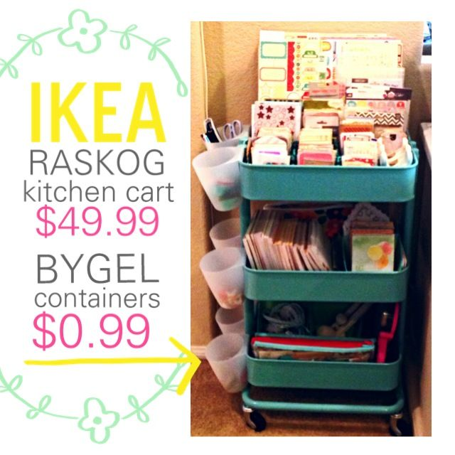 Ikea Raskog Kitchen Cart Hacked Into A Rolling Craft Storage Bin