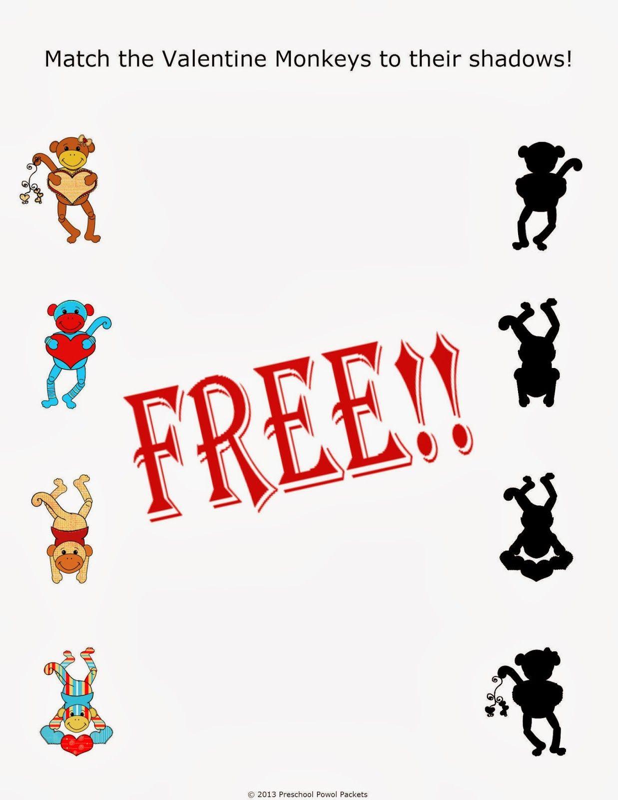 Preschool Powol Packets Free Preschool Valentine Shadow