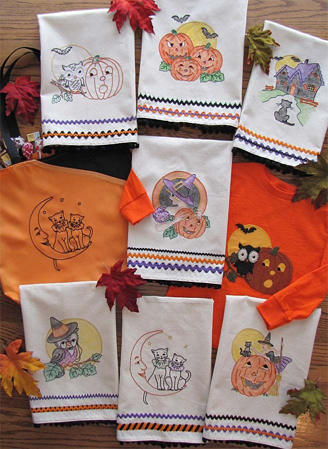 """Hand embroidery iron-on patterns are 7"""" tall. Designs can be colored with  fabric paint or crayons. Towels can be trimmed with rick rack that is  embellished with embroidery stitching, all instructions are included.  Materials Used: Seven Towels Trim Kit Floss Kit Fabric Paint Fashion Gree"""