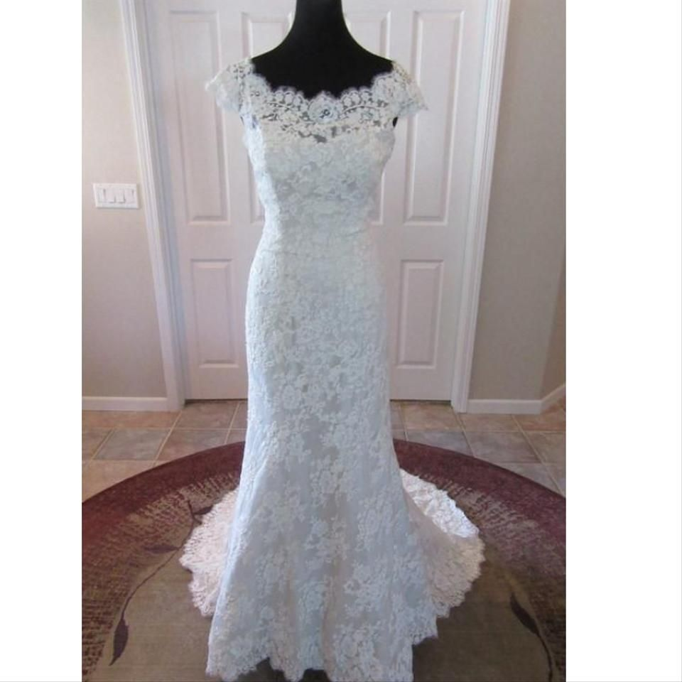 Allure Bridals Ivory Lace 9000 By Feminine Wedding Dress Size 10 (M)