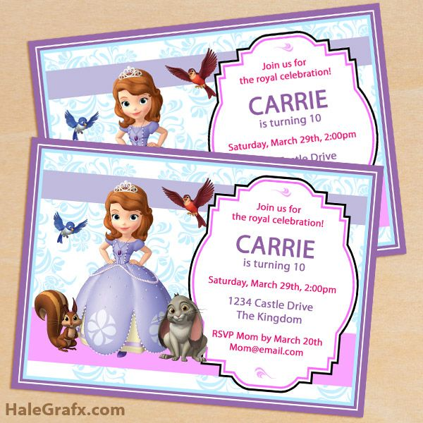 FREE Printable Sofia the First Birthday Invitation Pack Disney - create invitation card free download