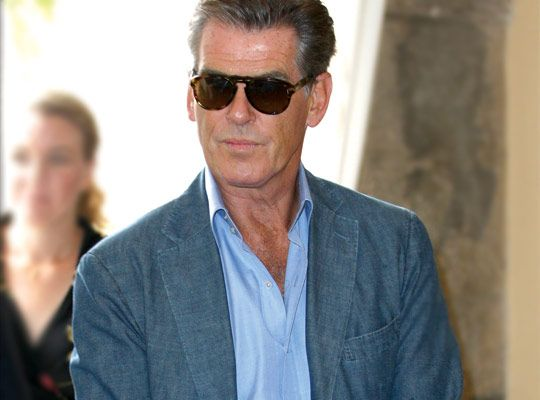 96b616eab7 GOLDEN EYE » actor Pierce Brosnan wears vintage with Persol 649 sunglasses  featuring a keyhole bridge at the Venice Film Festival.