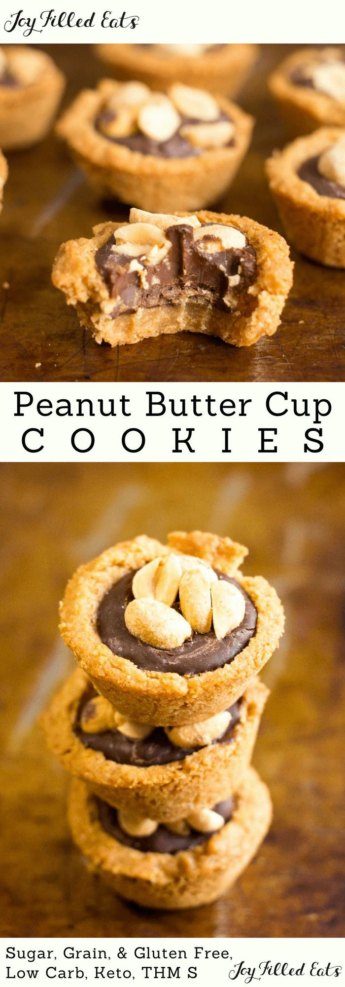Peanut Butter Cup Cookies - Low Carb, Grain-Free, Gluten-Free. Keto, Sugar-Free, THM S - these are a match made in heaven. With a tender cookie crust, chocolate ganache filling, and the crunch of salty peanuts on top your cravings will be fulfilled.