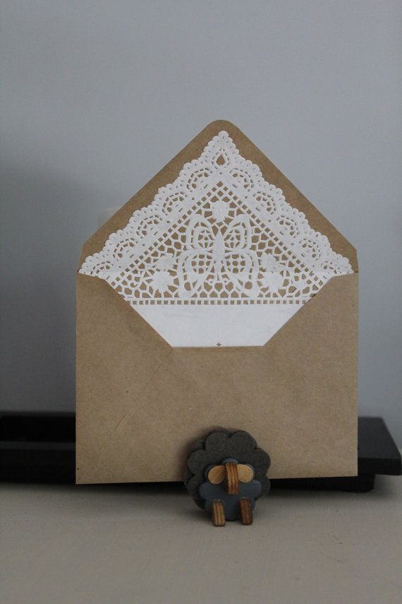 Lace lined envelopes  Kraft paper by paperiesheep on Etsy, $6.00
