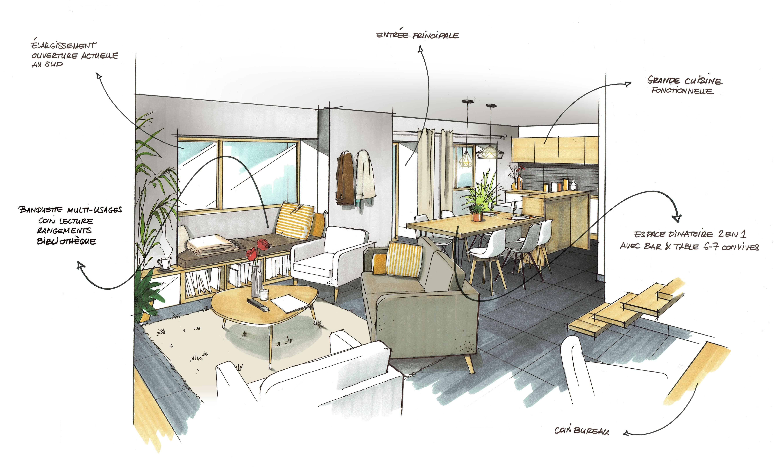 Client : SAAC / RENNES Dessin illustration d\'architecture intérieure ...