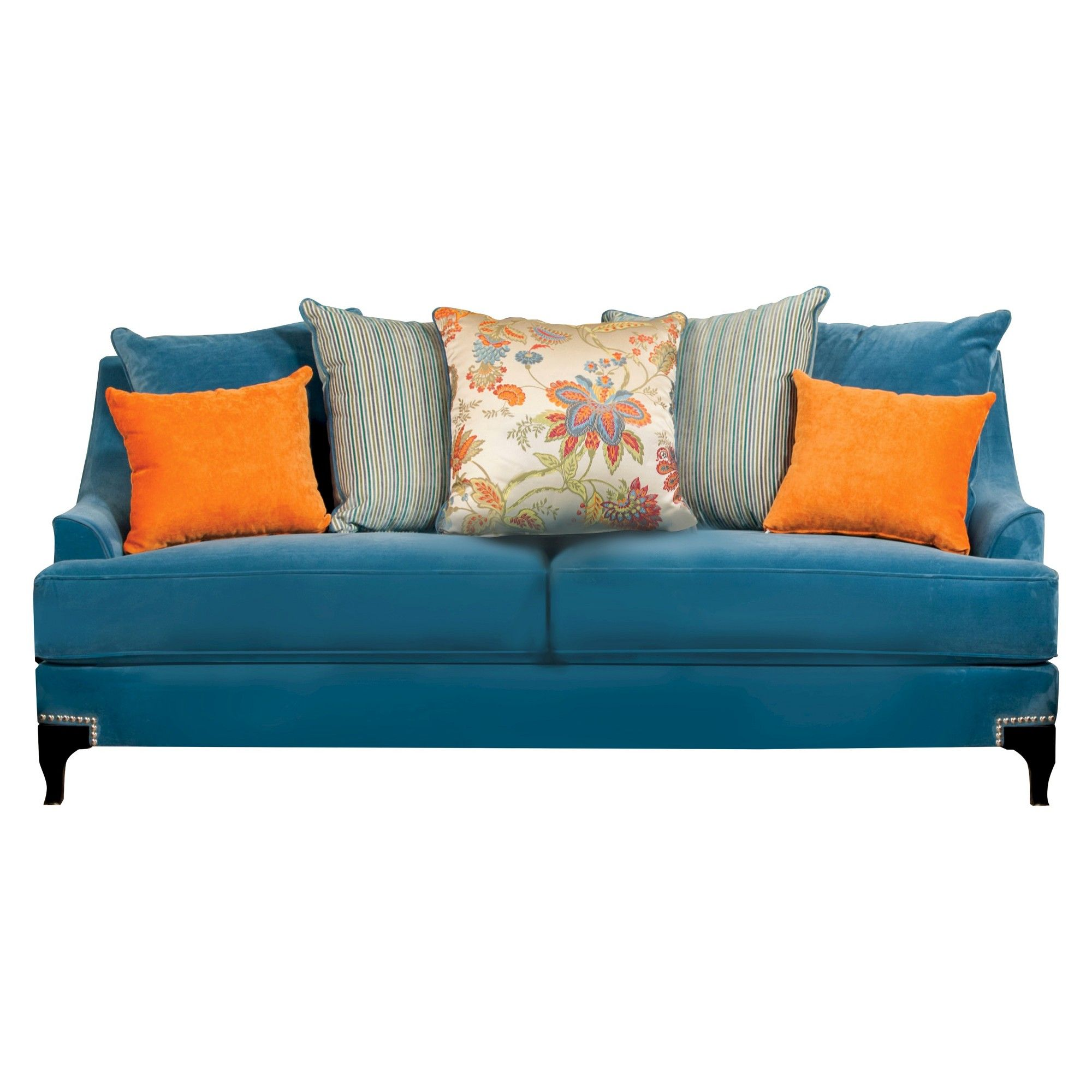 Zoren Retro Upholstered Sofa Peacock Blue Furniture Of