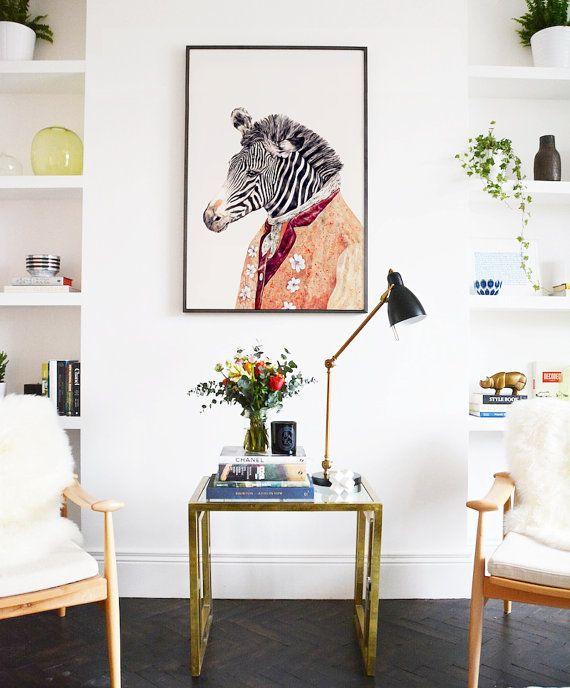 Large Framed Poster, Animal Decor, Zebra Decor, Framed art print ...