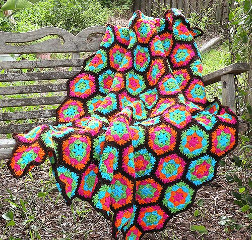 Finished Hexagon Afghan I Made From A Freepattern I Got From Red