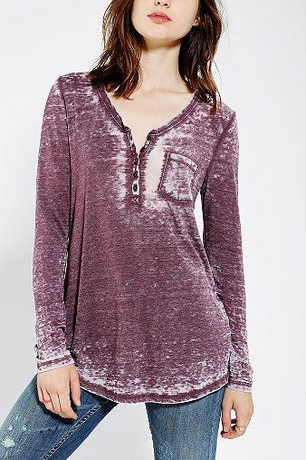 BDG Cozy Camp Henley Tunic Top