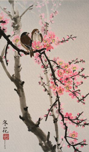 Love Birds On The Cherry Blossom Tree Cherry Blossom Art Blossoms Art Blossom Trees