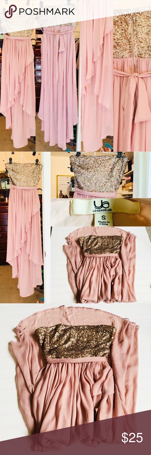 EUC Ya Los Angeles – Trägerloses, paillettenbesetztes formelles Kleid, das einmal für den Schultanz getragen wurde, …   – party