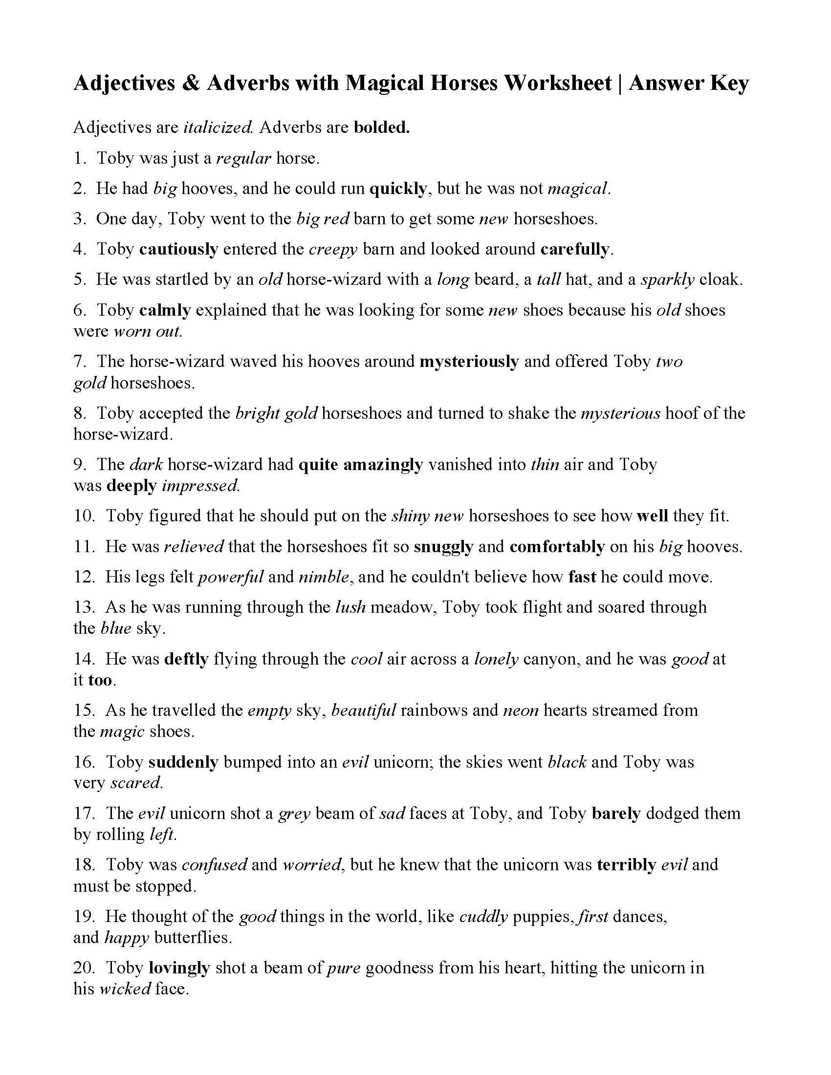 This Is The Answer Key For The Adjectives And Adverbs With Magical Horses Worksheet Adjectives Adverbs Word Problem Worksheets