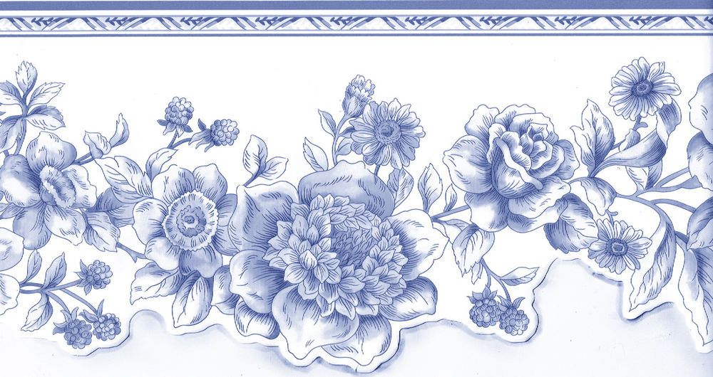 Blue White Toile Victorian Flower Floral Roses Sculptured