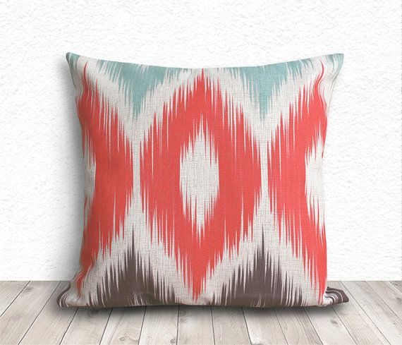 Ikat Pillow Cover, Pillow Cover, Coral Pillow Cover, Linen Pillow Cover 18x18 - Printed Ikat - 245