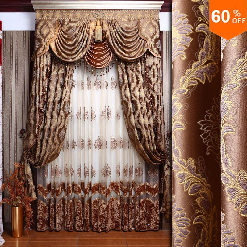 Find More Information About New Baroque Style Fashion Curtain Quality Dodechedron Curtains Finished Products Luxury Jacquard Cloth Brown