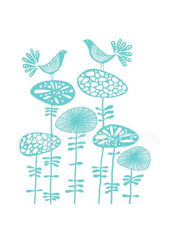 "Birds & Blooms in Turquoise - Signed Giclée Art Print Children Bedroom Kids Decor Nature 8"" x 10"""