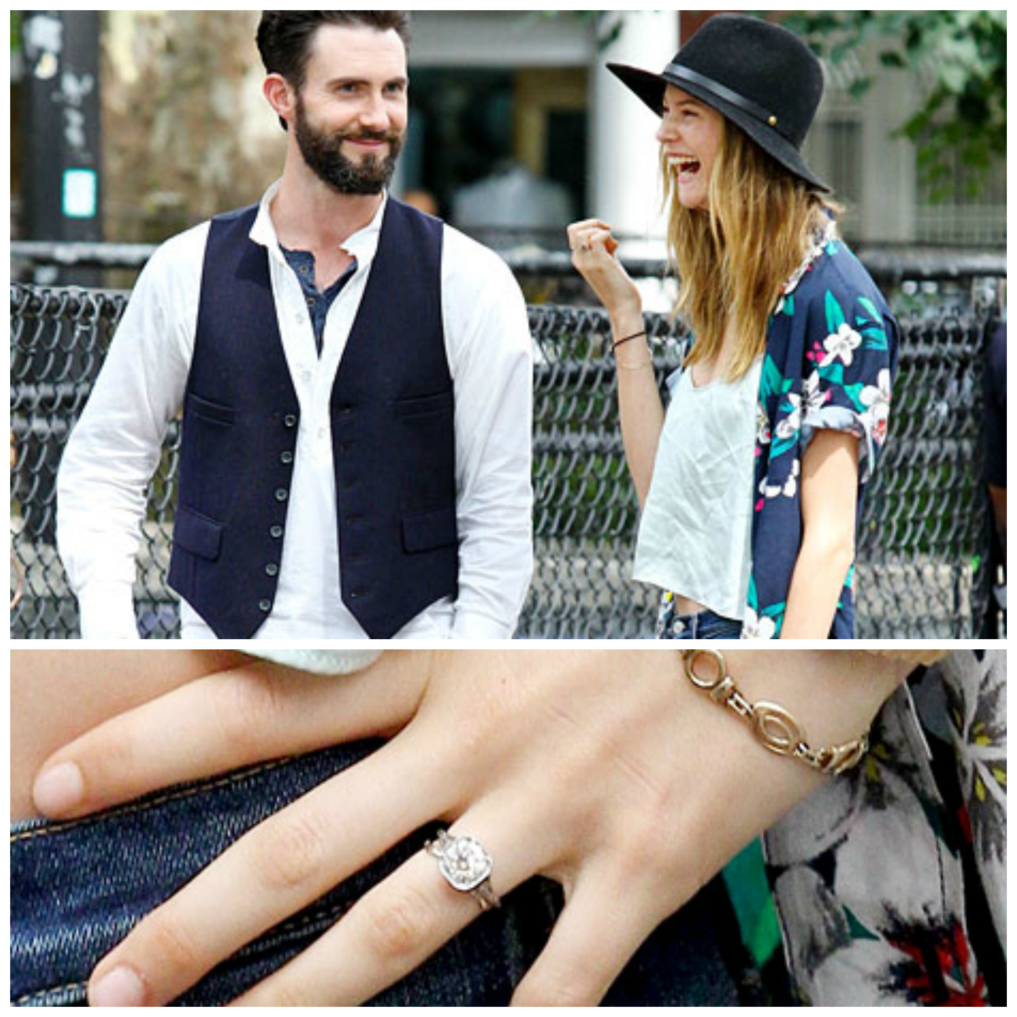 Adam Levine and Behatti Prisloo spotted! Check out that ring! We have  wedding tips