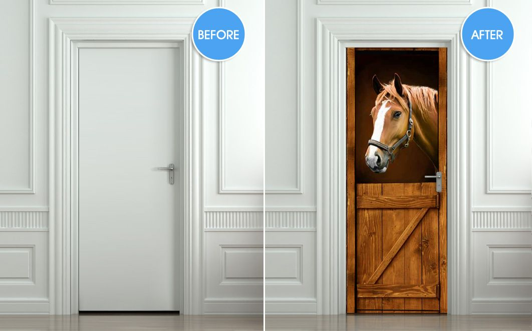 horse in stable, stall, barn - mural for wall / door / fridge, self