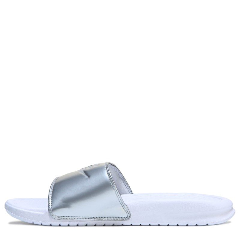 d28d9c4bc77c Nike Women s Benassi Jdi Slide Sandals (White Wolf Grey-Met)