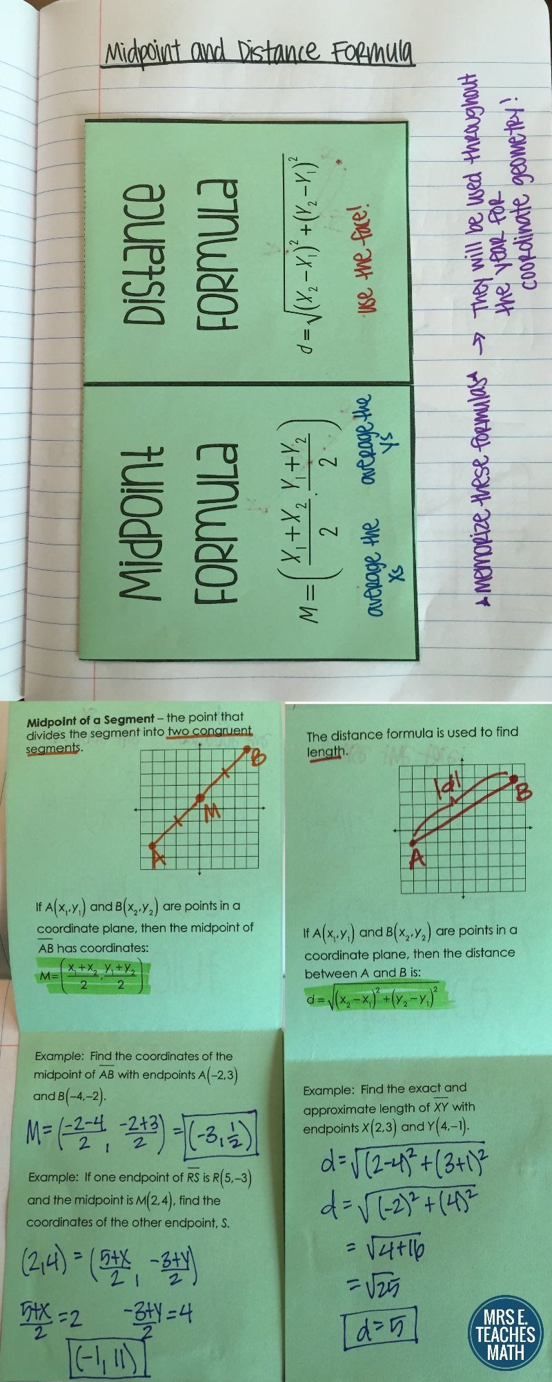 Distance And Midpoint Worksheet Answers Midpoint And Distance Formula Foldable In 2020 Midpoint Formula Math Interactive Notebook Teaching Geometry