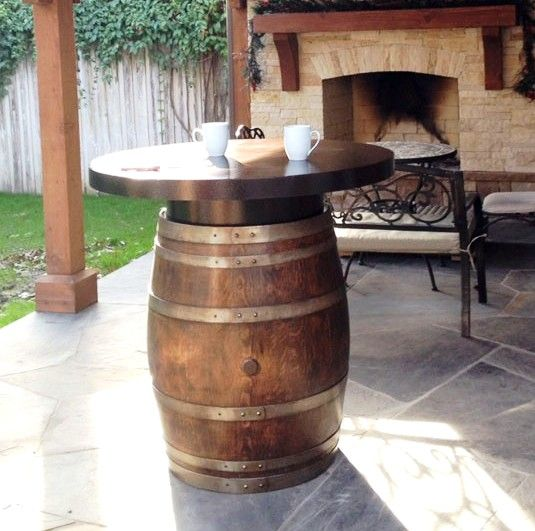 Vintage Oak Barrel With 42 Metal Table Top And Riser Brings It To The Perfect Bar Height Theoakbarrelcompany Barreltable