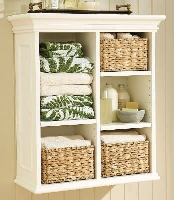 Wall Shelf Unit With Wicker Baskets Bathroom Wall Storage Small