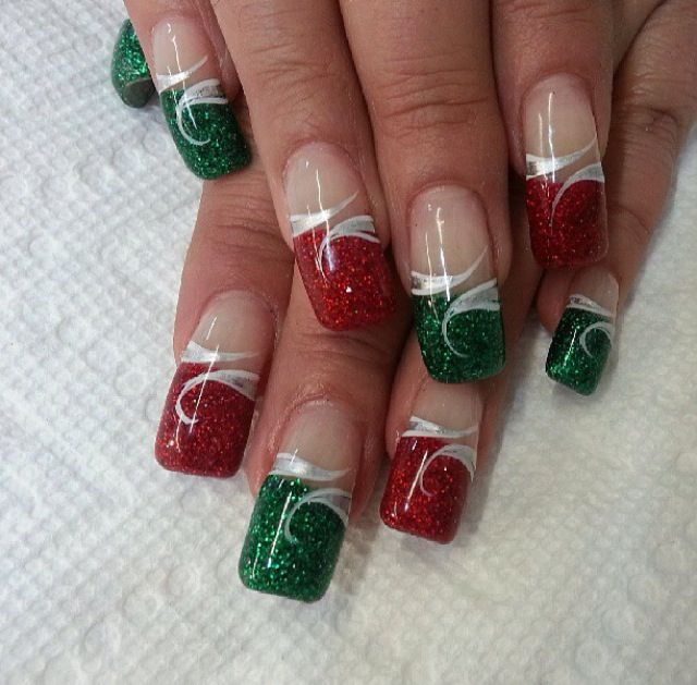 Red Green French Design Winter Nails Pinterest Winter Nails